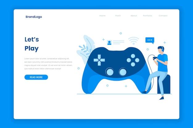 ビデオゲームをプレイするランディングページ