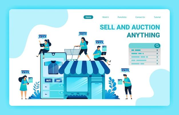 전자 상거래 앱으로 쇼핑하고 돈을 쓰는 랜딩 페이지. 전자 상거래로 자신의 상점을 만드십시오. 온라인 상점에서 적합한 품목을 찾으십시오.
