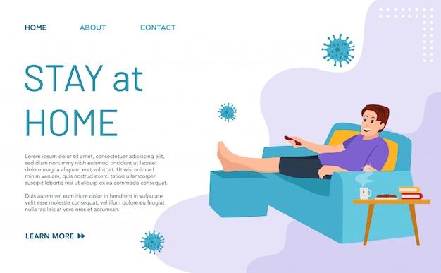 Целевая страница пребывания дома. идеальный шаблон для пребывания в помещении во время пандемии вируса covid-19