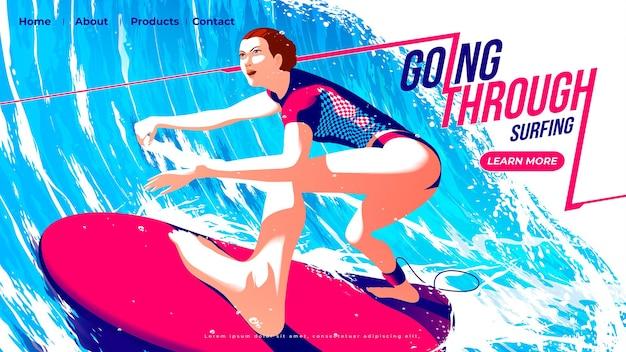 女性サーファーのサーフィンスポーツのランディングページは、決意を持って大きな波のトンネルを通ってサーフボードに乗っています。