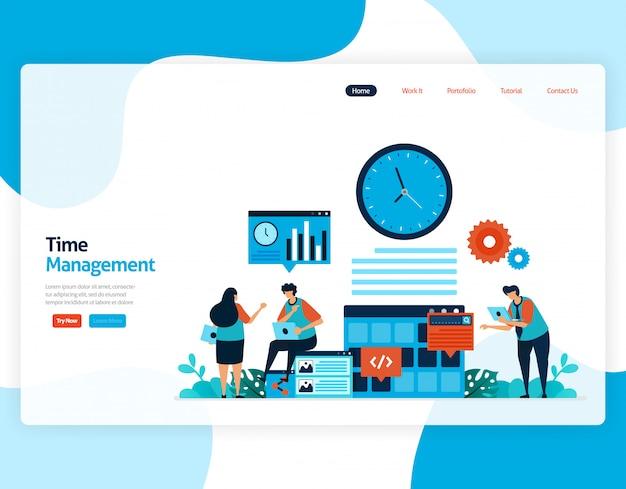 時間管理とスケジューリングジョブプロジェクトのランディングページ、時間どおりの作業の計画と管理、ビジネスの時間の不足、時間の処理。