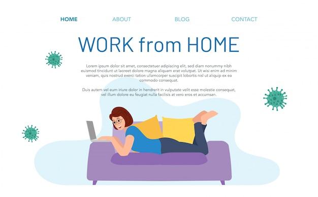 Целевая страница работы из дома. иллюстрация женщины, работающей на дому