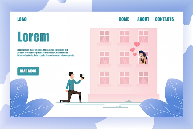 Landing page offer creative engagement or dating