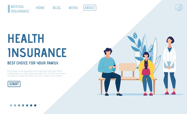 Landing page offer health insurance online service