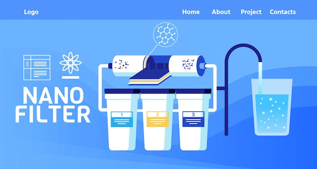 Landing page offer nano filter for water cleaning