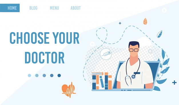 Landing page offer service to choose doctor online