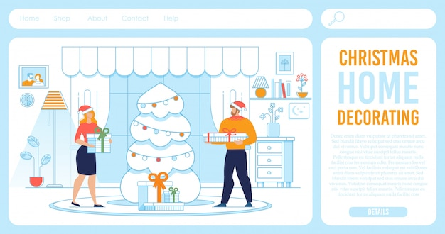 Landing page offering christmas home decoration