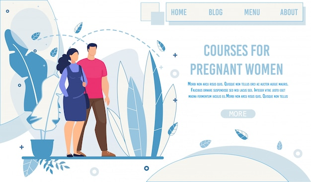 Landing page offering courses for pregnant women