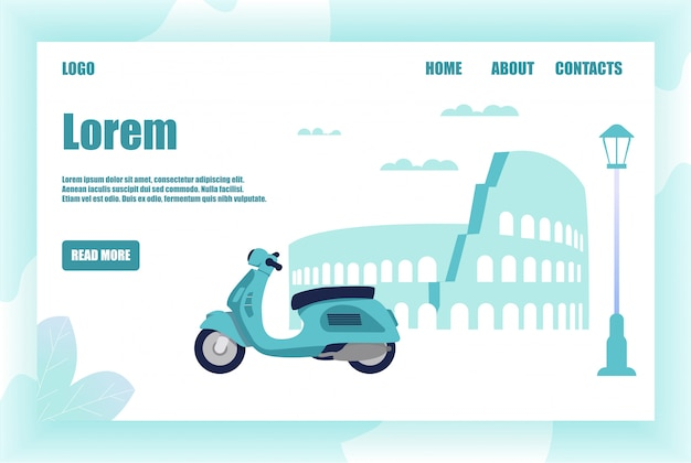 Landing page offering exciting romantic moped trip