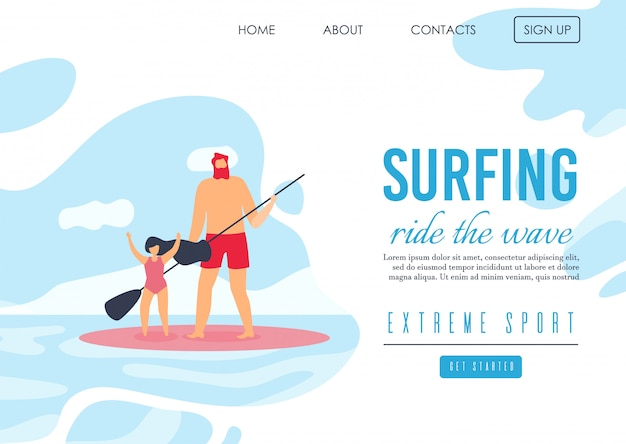 Landing page offering family extreme surfing on waves