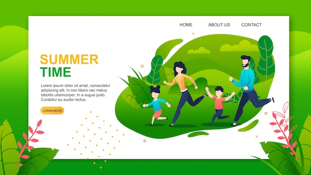 Landing page offering happy summer time with family