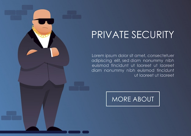 Landing page offering private security service