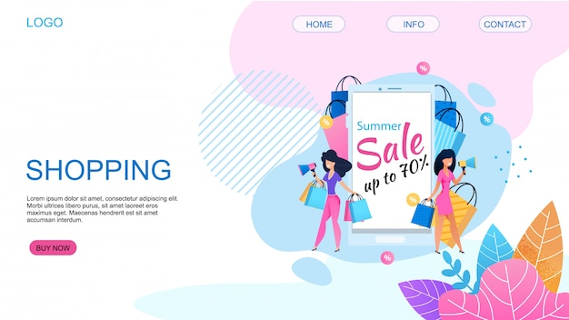 Landing page offering shopping with 80 percent price cut