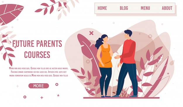 Landing page offering training for future parents