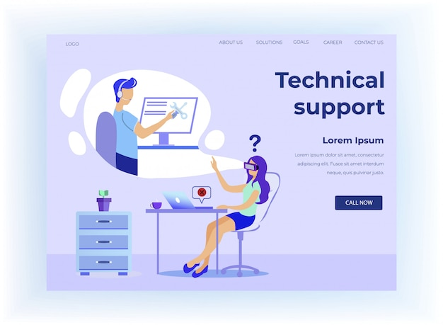 Landing page offers tech support and virtual help
