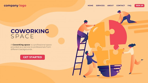 Landing page. office businesspeople in coworking place teamwork.