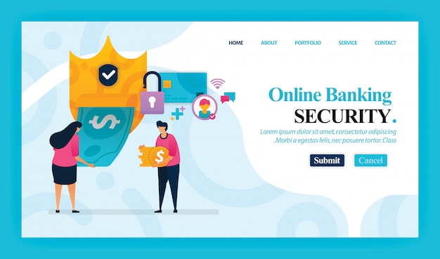 Landing page of online banking security.