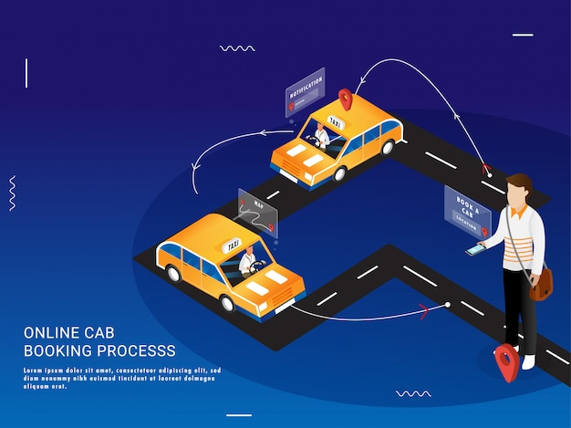 Landing page for online cab booking process in 3 easy steps.