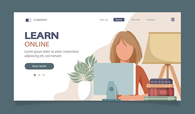 Landing page of online courses