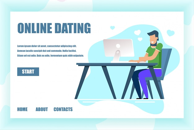 Landing page for online dating service application