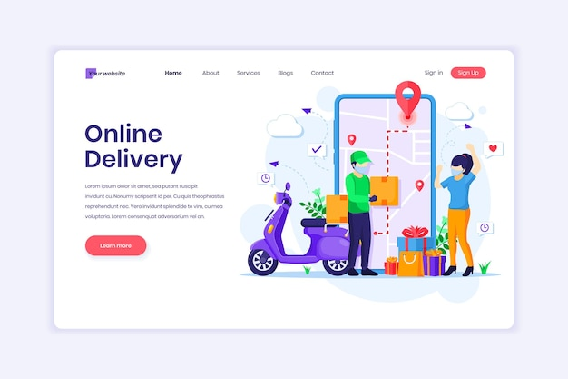 Landing page of online delivery service with a courier and woman with medical mask illustration