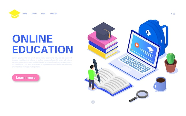 Landing page online education. student is studying a course on a computer.