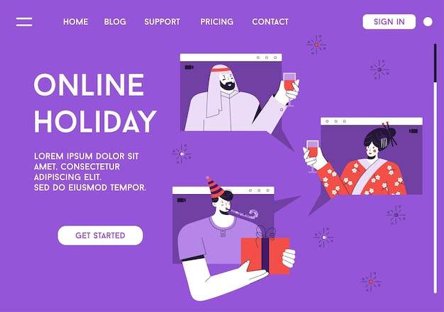 Landing page of online holiday concept