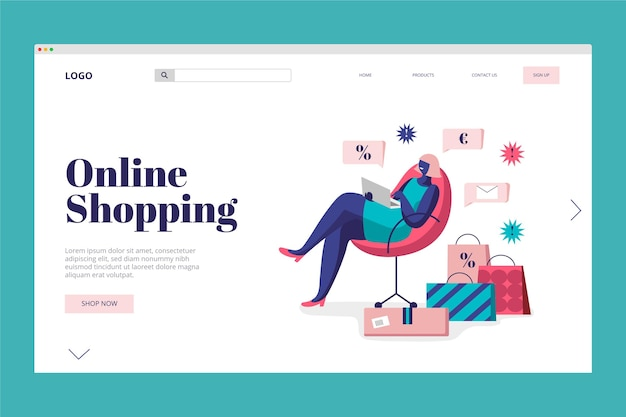 Landing page online shopping concept