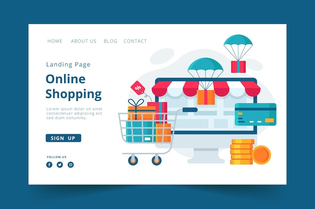 Landing page online shopping template style