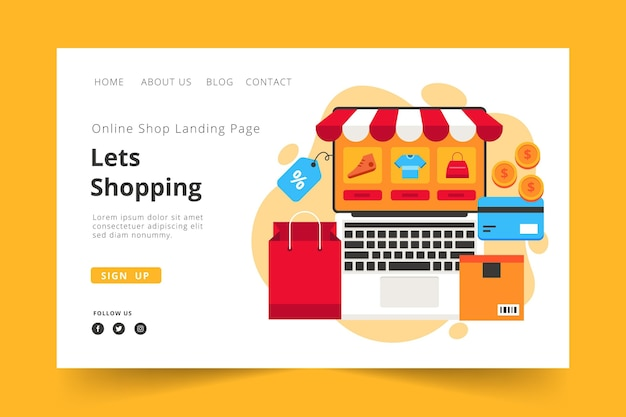 Landing page online shopping template theme