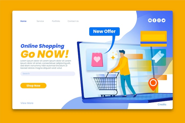Landing page for online shopping