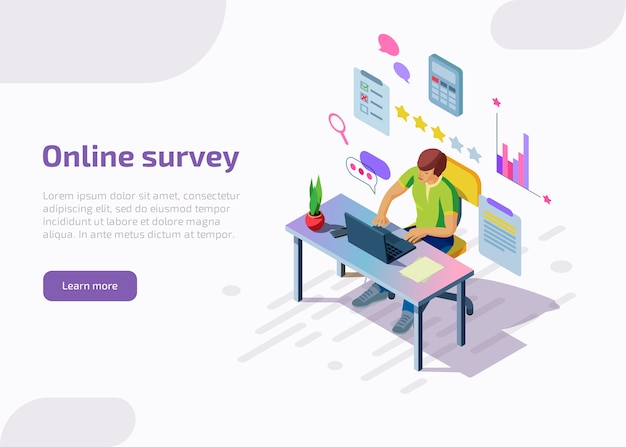 Landing page of online survey with isometric characters. man filling questionnaire form, star rating, check mark on list on laptop. feedback service internet technology, customer satisfaction concept.