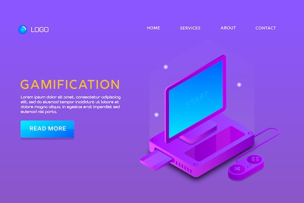Целевая страница или веб-дизайн шаблона. gamification