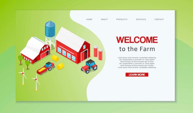 농업 웹 페이지를위한 방문 페이지 또는 웹 템플릿. 농부 가정에 오신 것을 환영합니다.