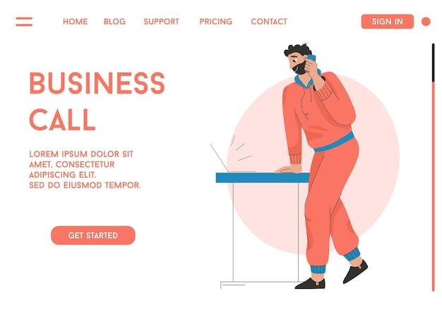 ビジネスコールコンセプトのランディングページまたはwebテンプレート