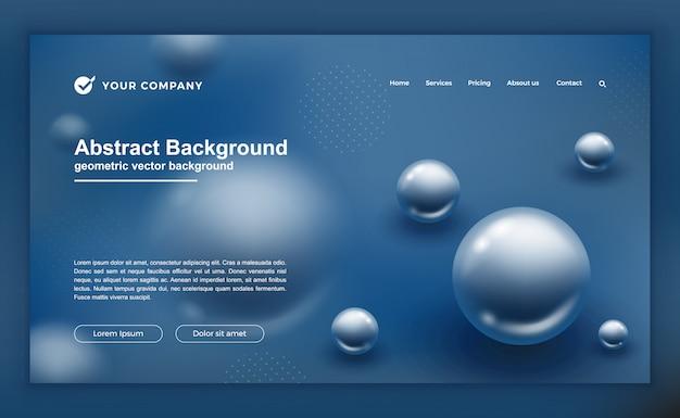 抽象的なブルーデザインのランディングページまたはwebテンプレート