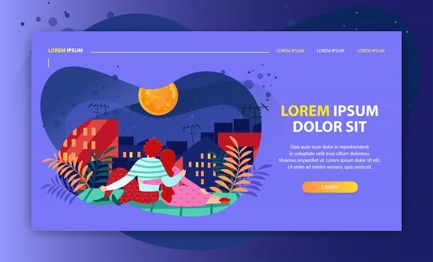 Целевая страница или шаблон веб-сайта с иллюстрацией романтичной пары, смотрящей на луну ночью