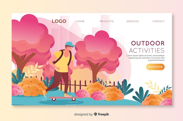 Landing page for outdoor activities with boy skating