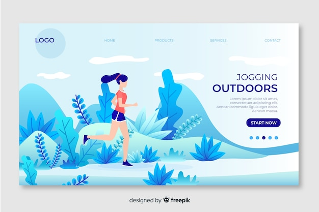 Landing page for outdoor activities with girl running