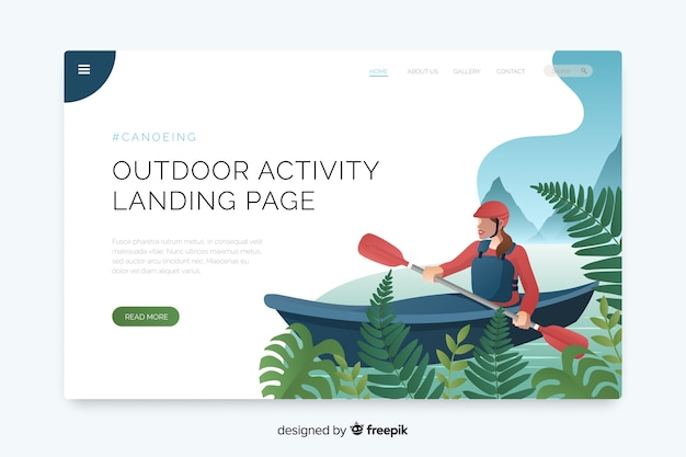 Landing page for outdoor activities