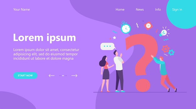 Landing page, people searching solutions and asking for help. men and women discussing huge question mark. vector illustration for communication, assistance, consulting concept