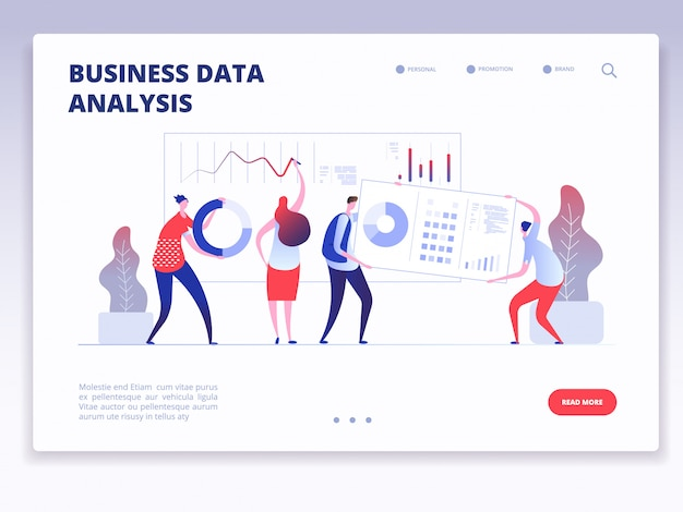 Landing page. people with dashboard and data charts infographic. business analysis and statistics agency concept