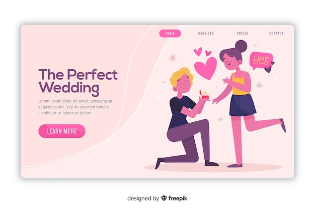 Landing page perfect wedding