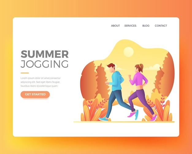 Landing page of a person who is exercising