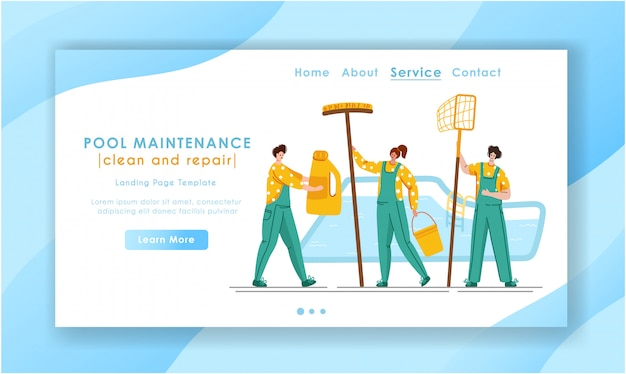 Landing page pool maintenance or cleaning service, group of miniature people, cleaning products for swimming pool