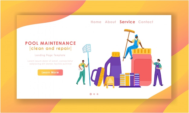 Landing page - pool maintenance or cleaning service, group of miniature people in uniform, cleaning products