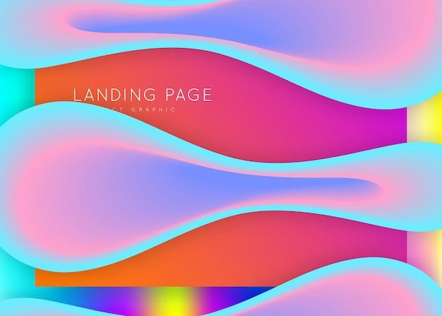 Целевая страница. pop ui, верстка сайта. голографический 3d фон с современной модной смесью. яркая градиентная сетка. целевая страница с жидкими динамическими элементами и плавными формами.