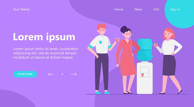 Landing page, positive people drinking water at cooler. office colleagues, chatting, break flat vector illustration. beverage, refreshment, watercooler concept