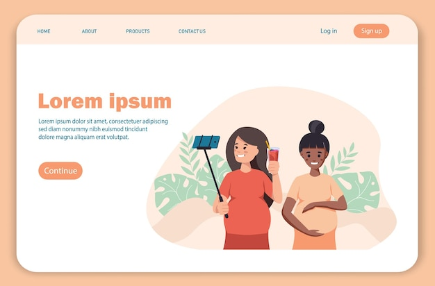 Landing page pregnant woman with a smoothie pregnant woman concept healthcare pregnancy healthcare concept