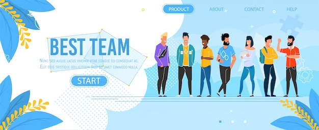 Landing page presenting business group best team